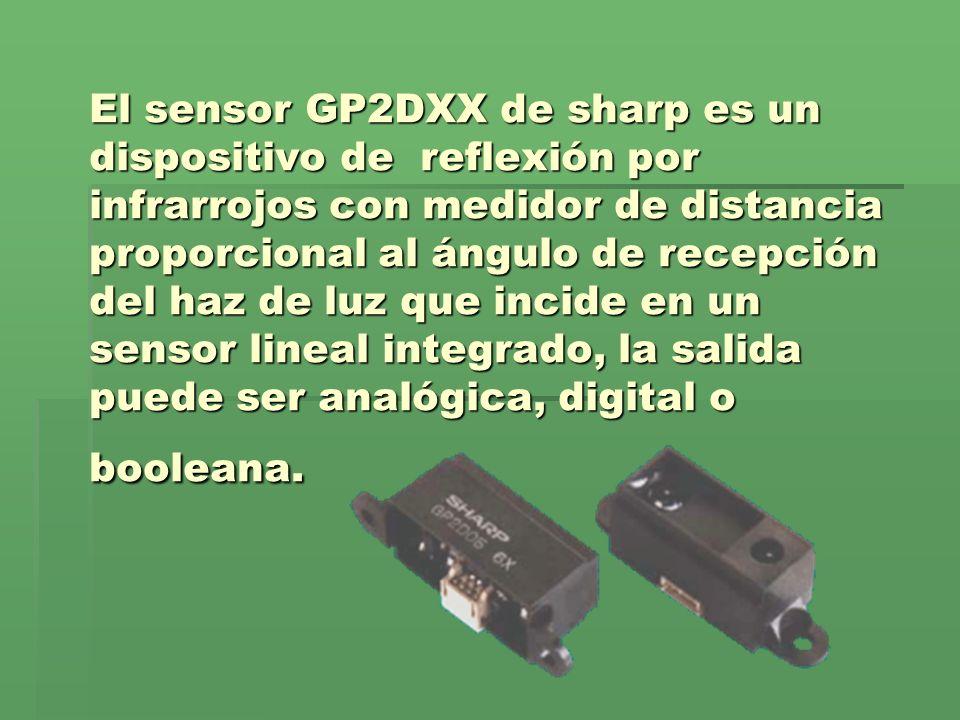 El sensor GP2DXX de sharp es un dispositivo de reflexión por infrarrojos con medidor de distancia proporcional al ángulo de recepción del haz de luz q