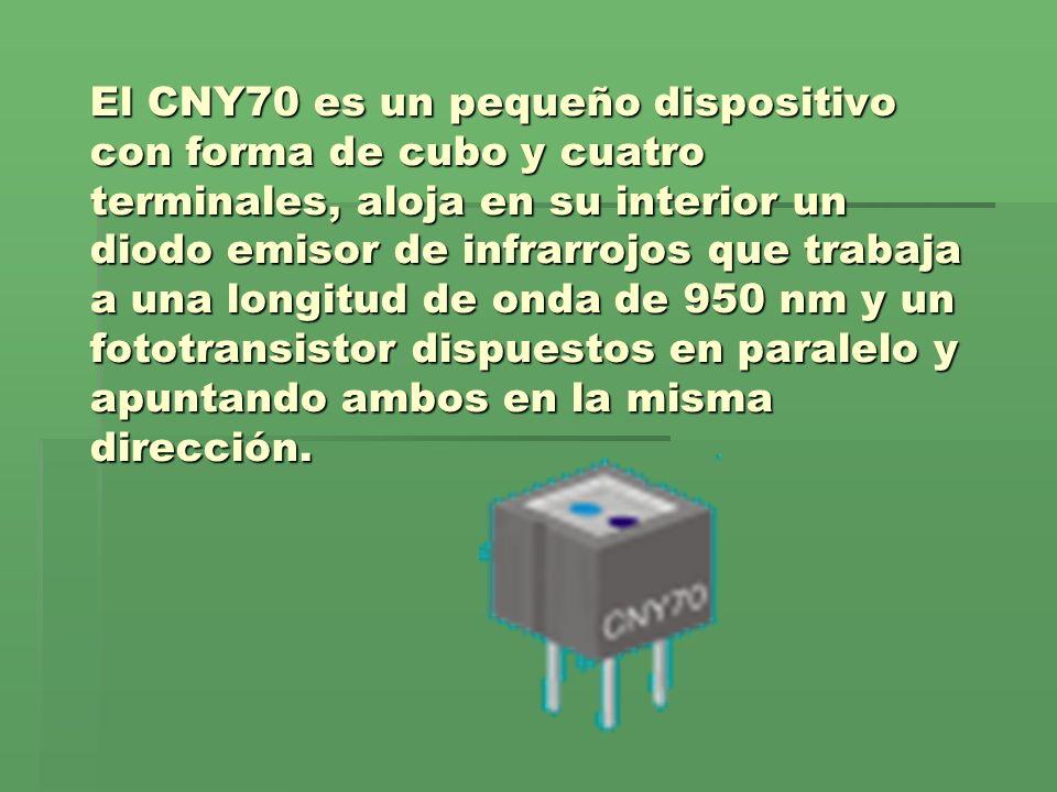 El CNY70 es un pequeño dispositivo con forma de cubo y cuatro terminales, aloja en su interior un diodo emisor de infrarrojos que trabaja a una longit