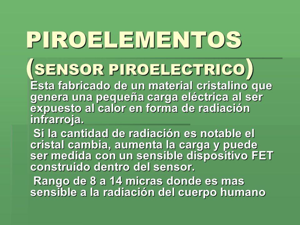PIROELEMENTOS ( SENSOR PIROELECTRICO ) Esta fabricado de un material cristalino que genera una pequeña carga eléctrica al ser expuesto al calor en for