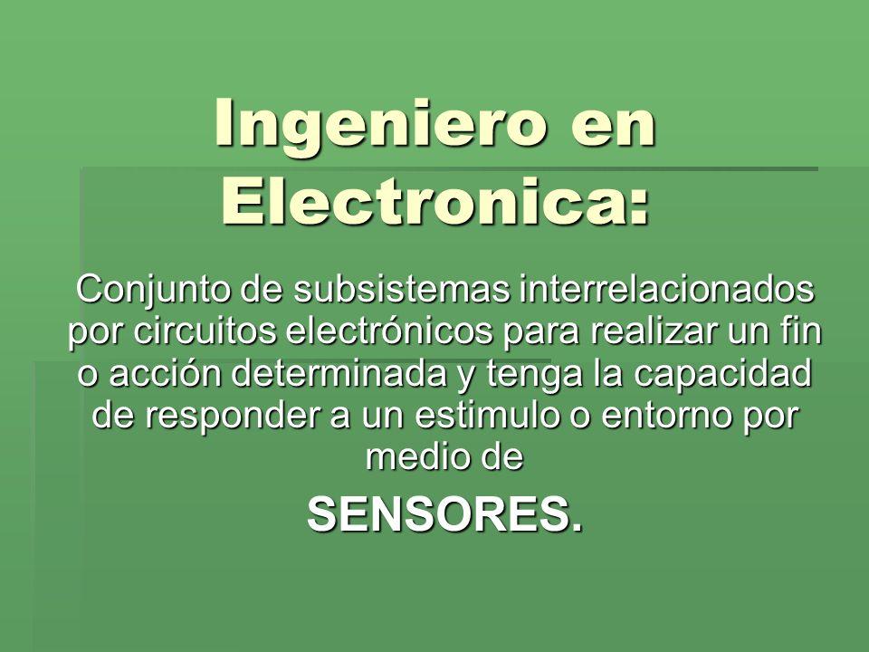 Ingeniero en Electronica: Conjunto de subsistemas interrelacionados por circuitos electrónicos para realizar un fin o acción determinada y tenga la ca