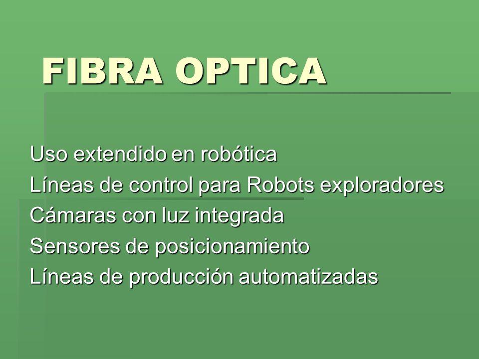 FIBRA OPTICA Uso extendido en robótica Líneas de control para Robots exploradores Cámaras con luz integrada Sensores de posicionamiento Líneas de prod
