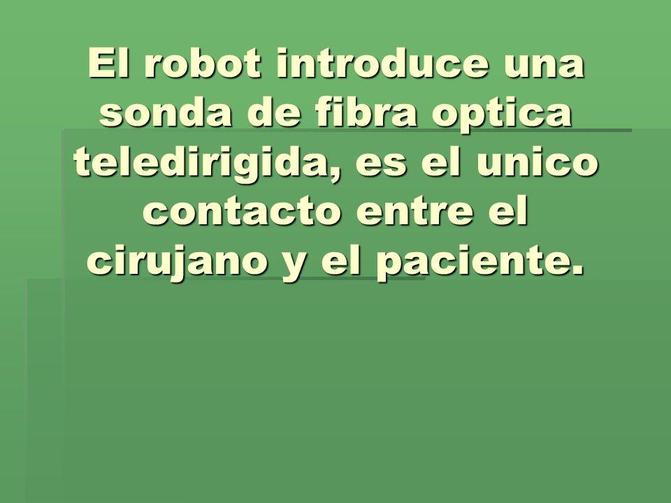 El robot introduce una sonda de fibra optica teledirigida, es el unico contacto entre el cirujano y el paciente.