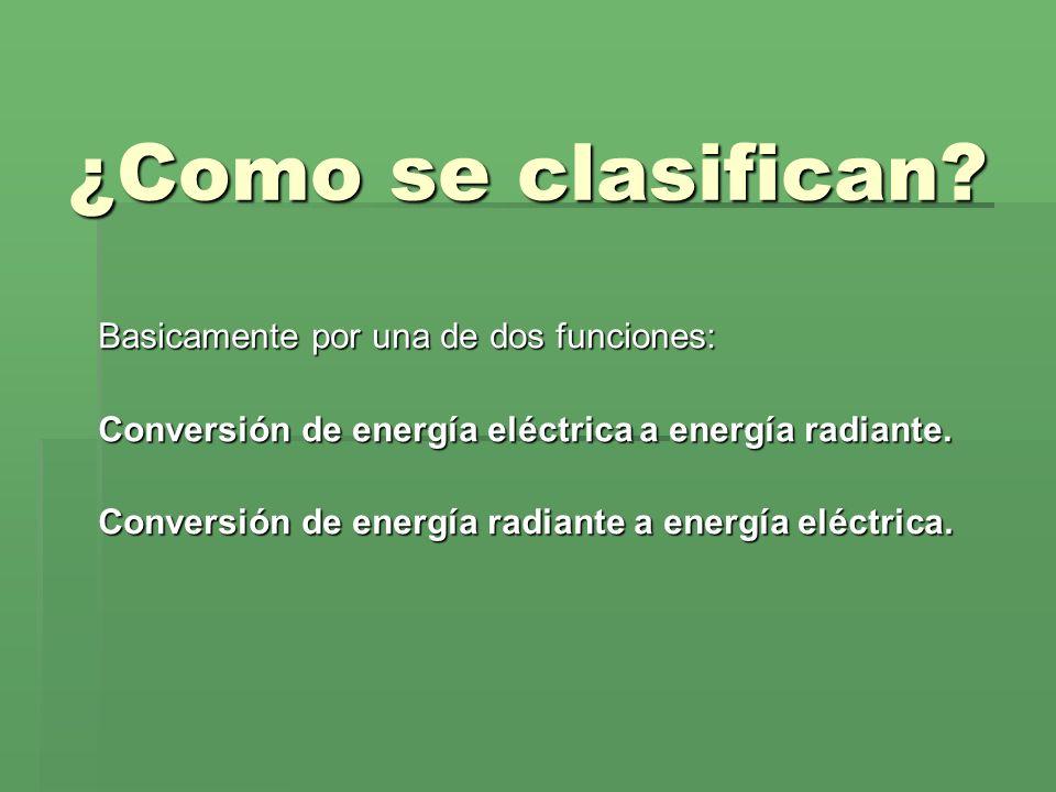 ¿Como se clasifican? Basicamente por una de dos funciones: Conversión de energía eléctrica a energía radiante. Conversión de energía radiante a energí