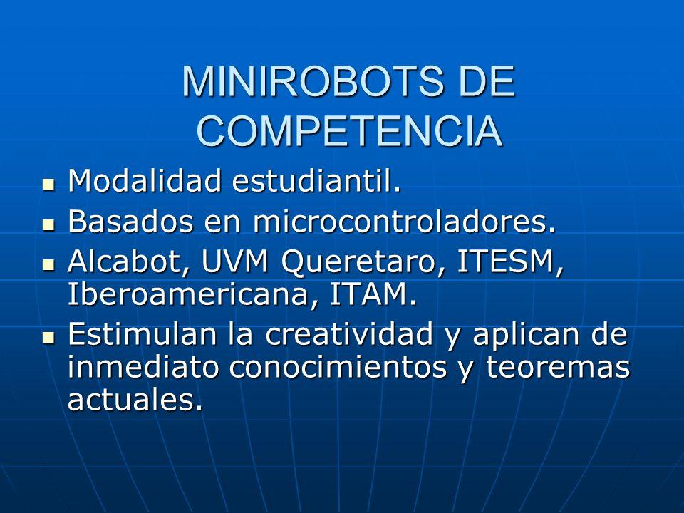 MINIROBOTS DE COMPETENCIA Modalidad estudiantil. Modalidad estudiantil. Basados en microcontroladores. Basados en microcontroladores. Alcabot, UVM Que