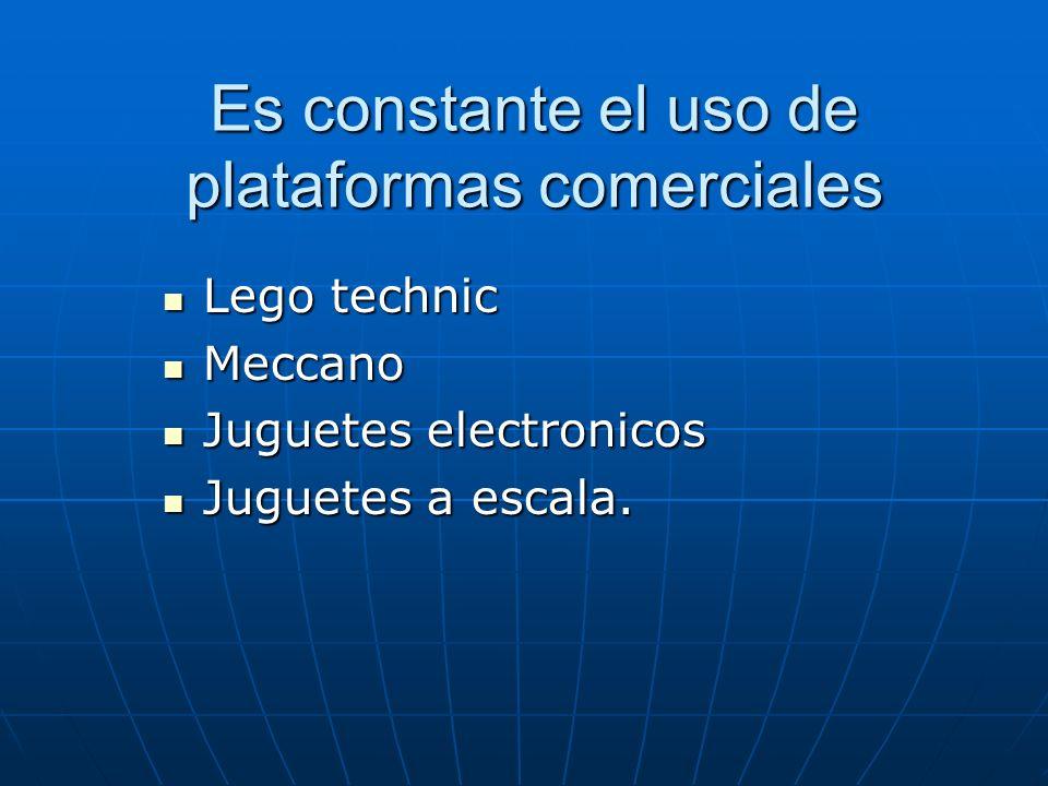Es constante el uso de plataformas comerciales Lego technic Lego technic Meccano Meccano Juguetes electronicos Juguetes electronicos Juguetes a escala