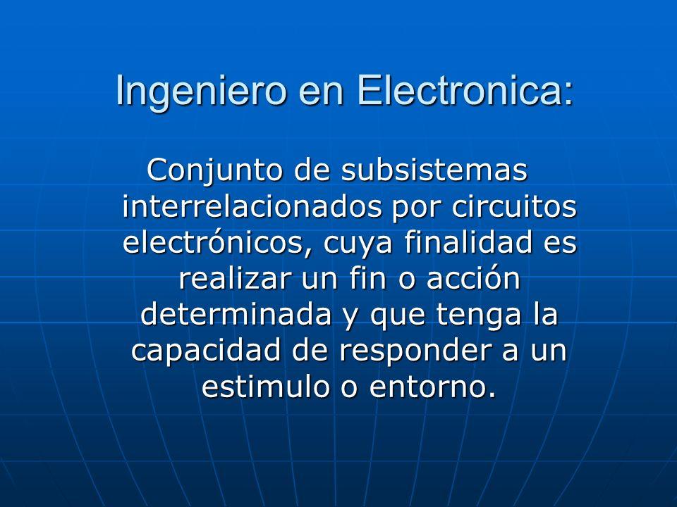Ingeniero en Electronica: Conjunto de subsistemas interrelacionados por circuitos electrónicos, cuya finalidad es realizar un fin o acción determinada