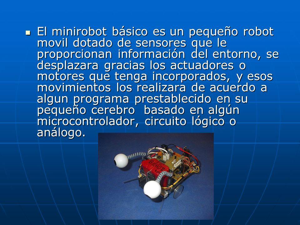 El minirobot básico es un pequeño robot movil dotado de sensores que le proporcionan información del entorno, se desplazara gracias los actuadores o m