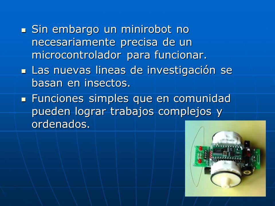 Sin embargo un minirobot no necesariamente precisa de un microcontrolador para funcionar. Sin embargo un minirobot no necesariamente precisa de un mic