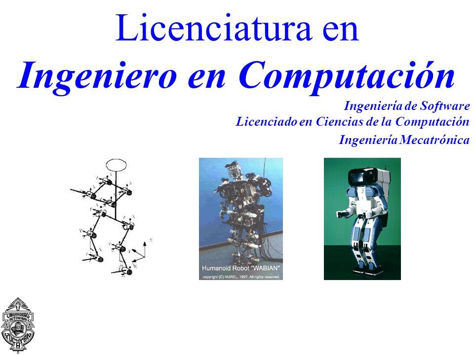 Licenciatura en Ingeniero en Computación Ingeniería de Software Licenciado en Ciencias de la Computación Ingeniería Mecatrónica
