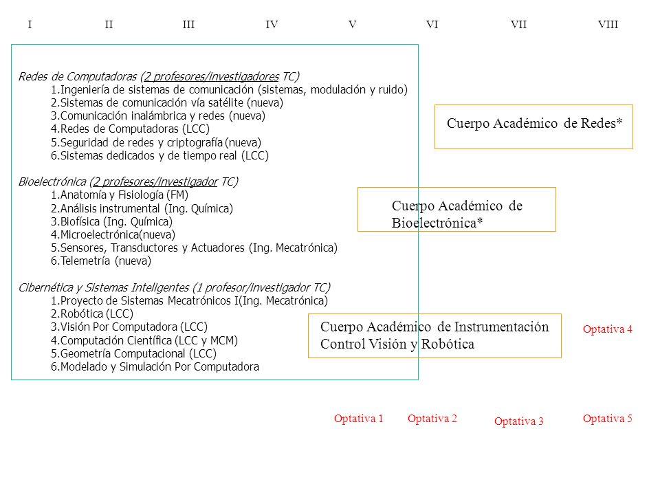 I II III IV V VI VII VIII Optativa 4 Optativa 1 Optativa 2 Optativa 3 Optativa 5 Redes de Computadoras (2 profesores/investigadores TC) 1.Ingeniería d