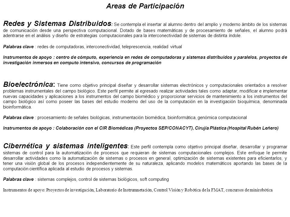 Areas de Participación Redes y Sistemas Distribuidos : Se contempla el insertar al alumno dentro del amplio y moderno ámbito de los sistemas de comuni