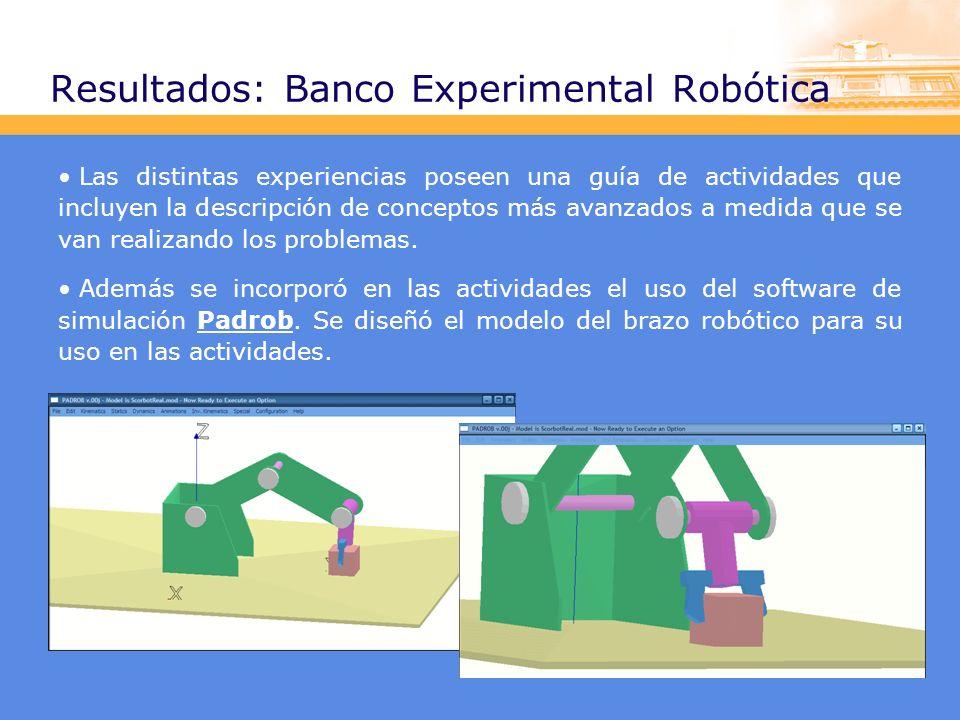 Resultados: Banco Experimental Robótica Las distintas experiencias poseen una guía de actividades que incluyen la descripción de conceptos más avanzados a medida que se van realizando los problemas.