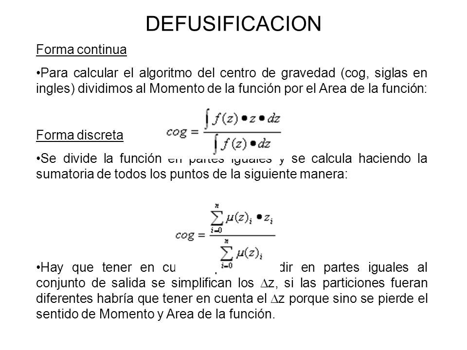 DEFUSIFICACION Forma continua Para calcular el algoritmo del centro de gravedad (cog, siglas en ingles) dividimos al Momento de la función por el Area