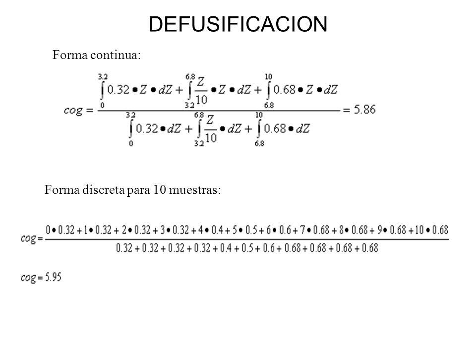 DEFUSIFICACION Forma continua: Forma discreta para 10 muestras: