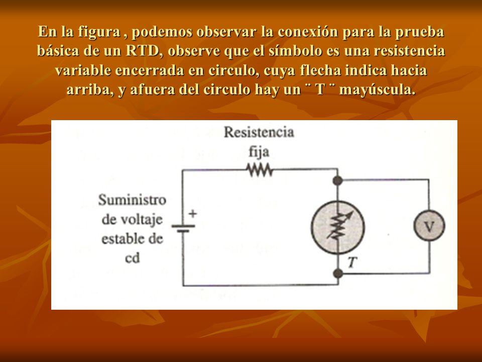 En la figura, podemos observar la conexión para la prueba básica de un RTD, observe que el símbolo es una resistencia variable encerrada en circulo, c