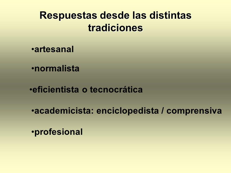 Respuestas desde las distintas tradiciones artesanal normalista eficientista o tecnocrática academicista: enciclopedista / comprensiva profesional