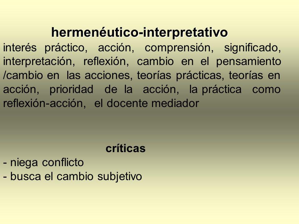 hermenéutico-interpretativo interés práctico, acción, comprensión, significado, interpretación, reflexión, cambio en el pensamiento /cambio en las acc