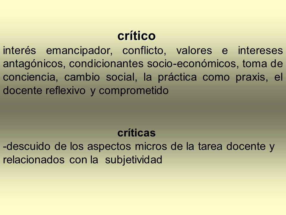 crítico interés emancipador, conflicto, valores e intereses antagónicos, condicionantes socio-económicos, toma de conciencia, cambio social, la prácti
