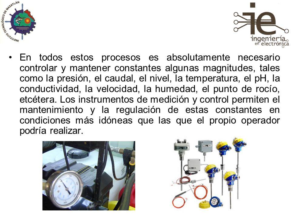 En todos estos procesos es absolutamente necesario controlar y mantener constantes algunas magnitudes, tales como la presión, el caudal, el nivel, la