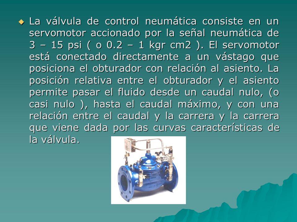 La válvula de control neumática consiste en un servomotor accionado por la señal neumática de 3 – 15 psi ( o 0.2 – 1 kgr cm2 ). El servomotor está con