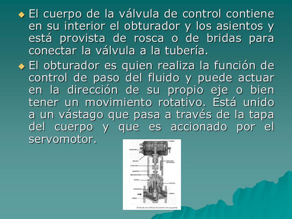 El cuerpo de la válvula de control contiene en su interior el obturador y los asientos y está provista de rosca o de bridas para conectar la válvula a