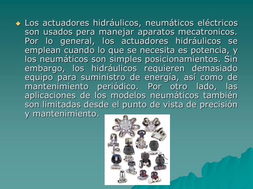 Los actuadores hidráulicos, neumáticos eléctricos son usados pera manejar aparatos mecatronicos. Por lo general, los actuadores hidráulicos se emplean
