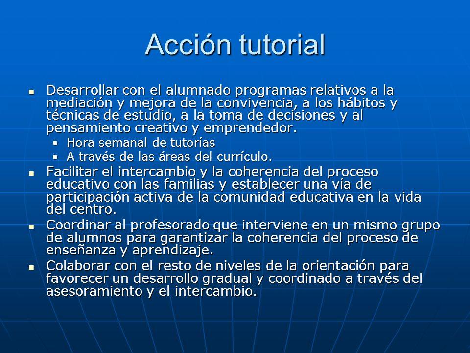 Acción tutorial Desarrollar con el alumnado programas relativos a la mediación y mejora de la convivencia, a los hábitos y técnicas de estudio, a la toma de decisiones y al pensamiento creativo y emprendedor.