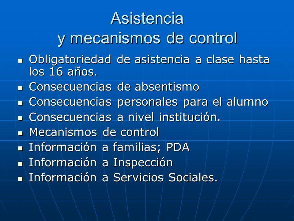 Asistencia y mecanismos de control Obligatoriedad de asistencia a clase hasta los 16 años.