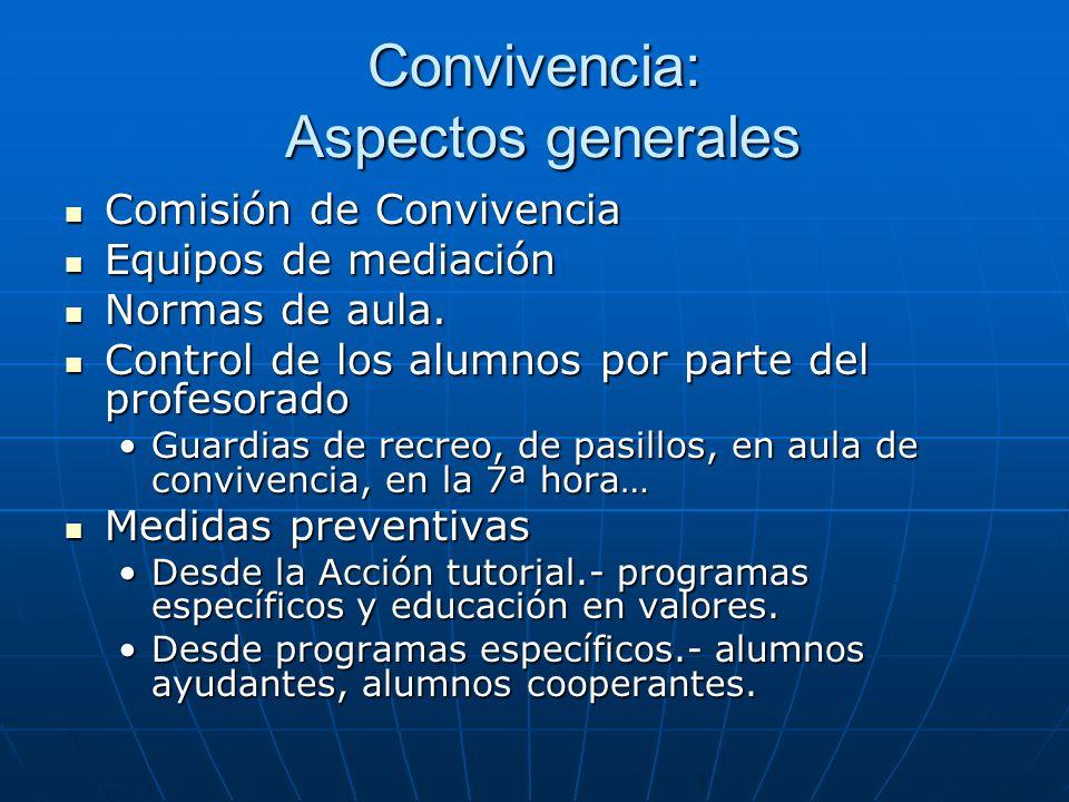 Convivencia: Aspectos generales Comisión de Convivencia Comisión de Convivencia Equipos de mediación Equipos de mediación Normas de aula.