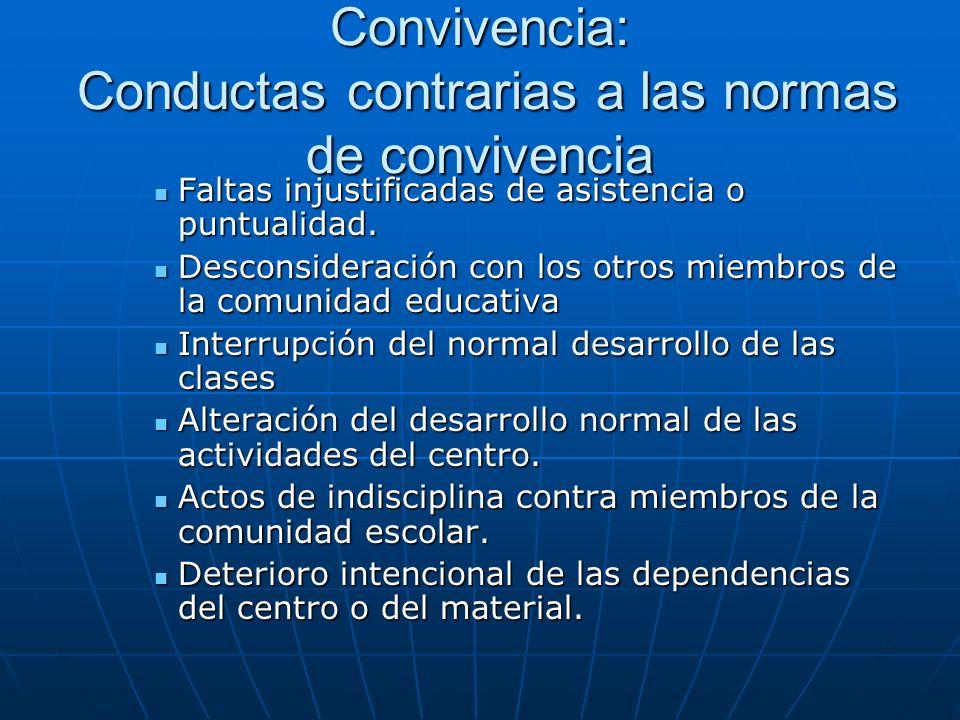 Convivencia: Conductas contrarias a las normas de convivencia Faltas injustificadas de asistencia o puntualidad.