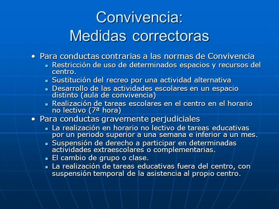 Convivencia: Medidas correctoras Para conductas contrarias a las normas de ConvivenciaPara conductas contrarias a las normas de Convivencia Restricción de uso de determinados espacios y recursos del centro.