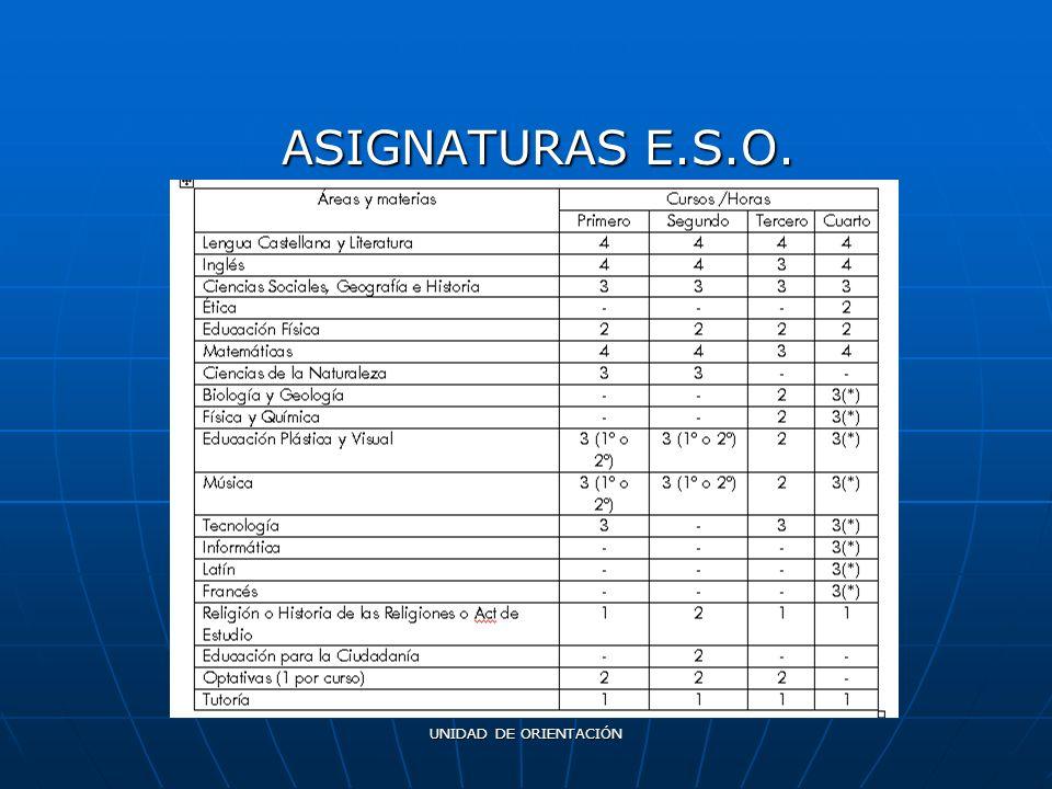 UNIDAD DE ORIENTACIÓN ASIGNATURAS E.S.O.