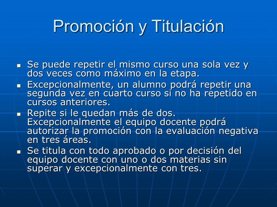 Promoción y Titulación Se puede repetir el mismo curso una sola vez y dos veces como máximo en la etapa.