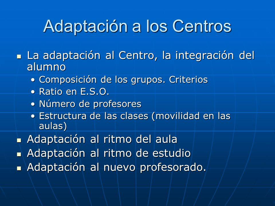Adaptación a los Centros La adaptación al Centro, la integración del alumno La adaptación al Centro, la integración del alumno Composición de los grupos.