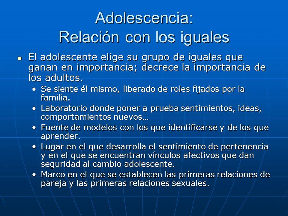 Adolescencia: Relación con los iguales El adolescente elige su grupo de iguales que ganan en importancia; decrece la importancia de los adultos.