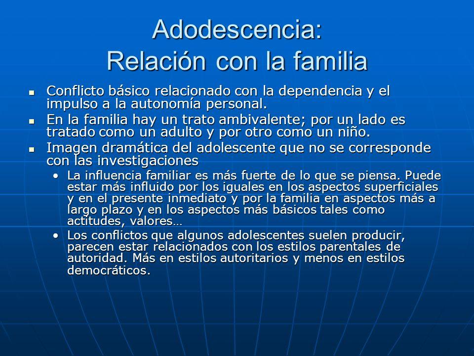 Adodescencia: Relación con la familia Conflicto básico relacionado con la dependencia y el impulso a la autonomía personal.