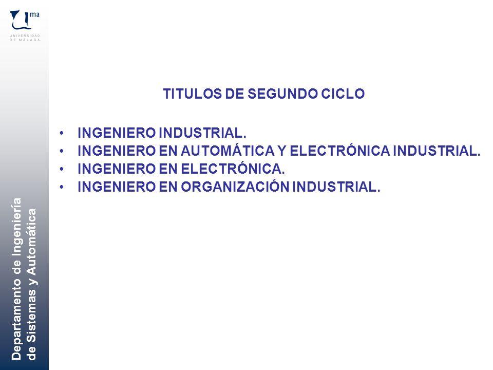 Departamento de Ingeniería de Sistemas y Automática INGENIERO INDUSTRIAL. INGENIERO EN AUTOMÁTICA Y ELECTRÓNICA INDUSTRIAL. INGENIERO EN ELECTRÓNICA.