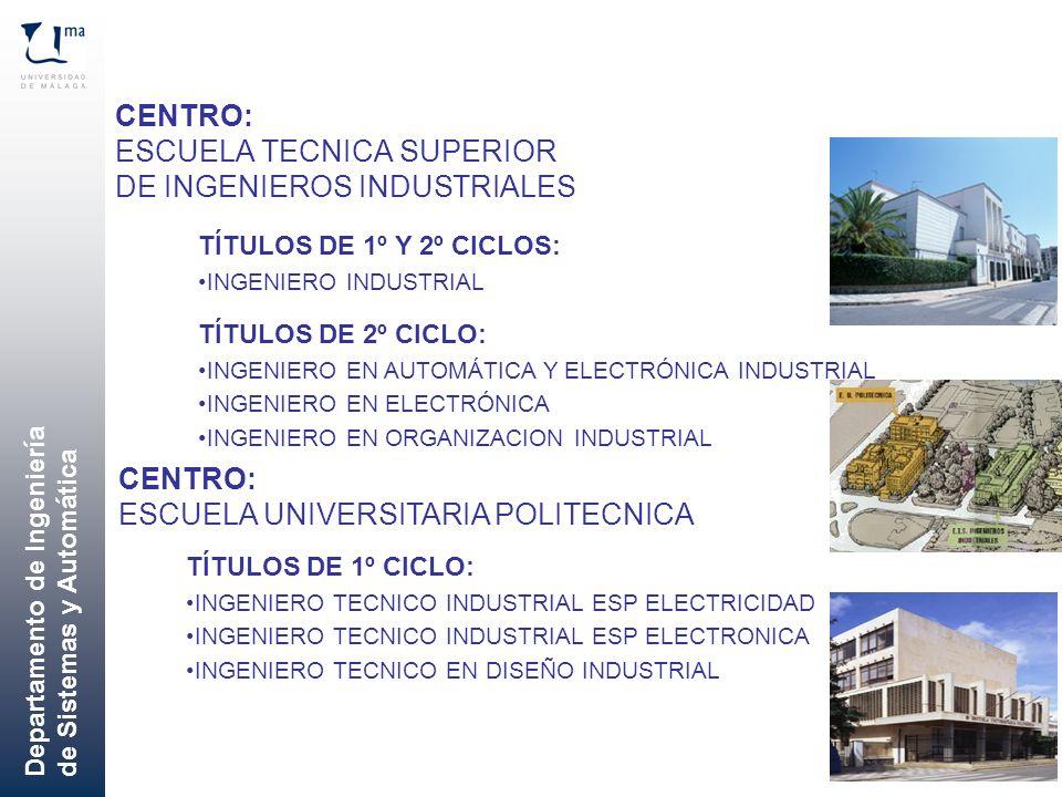 Departamento de Ingeniería de Sistemas y Automática CENTRO: ESCUELA TECNICA SUPERIOR DE INGENIEROS INDUSTRIALES TÍTULOS DE 1º Y 2º CICLOS: INGENIERO I