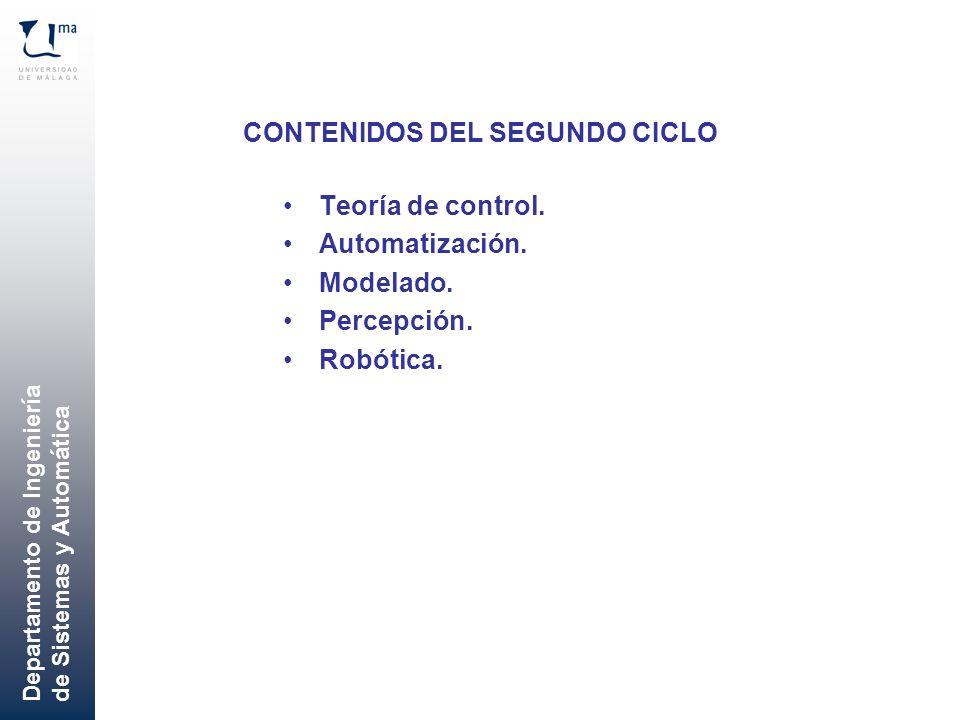 Departamento de Ingeniería de Sistemas y Automática CONTENIDOS DEL SEGUNDO CICLO Teoría de control. Automatización. Modelado. Percepción. Robótica.