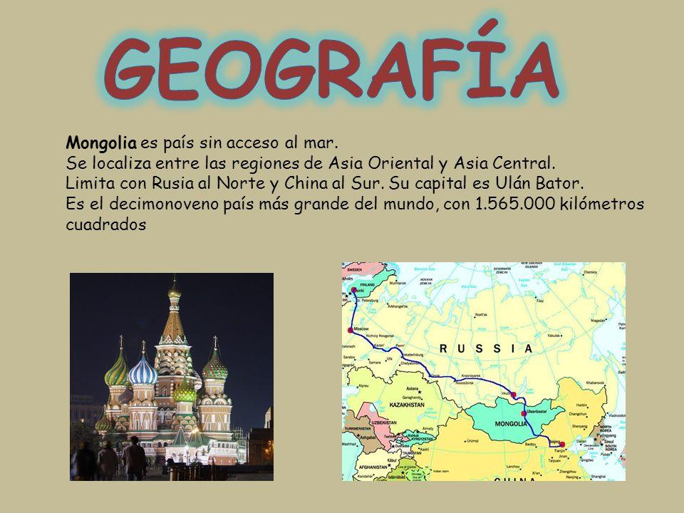Mongolia es país sin acceso al mar. Se localiza entre las regiones de Asia Oriental y Asia Central. Limita con Rusia al Norte y China al Sur. Su capit