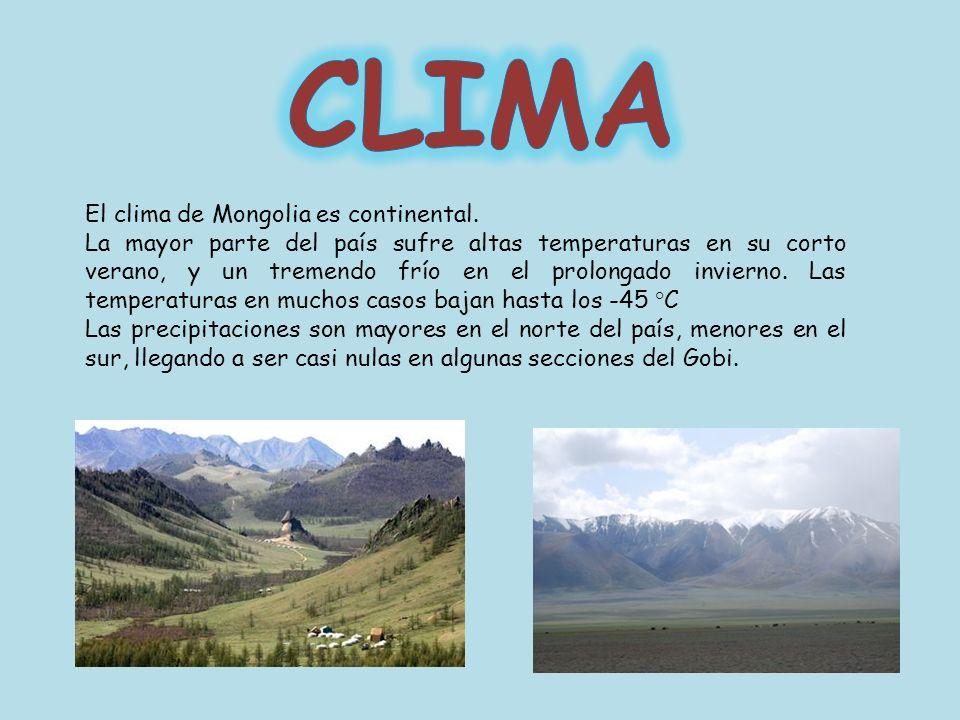 El clima de Mongolia es continental. La mayor parte del país sufre altas temperaturas en su corto verano, y un tremendo frío en el prolongado invierno