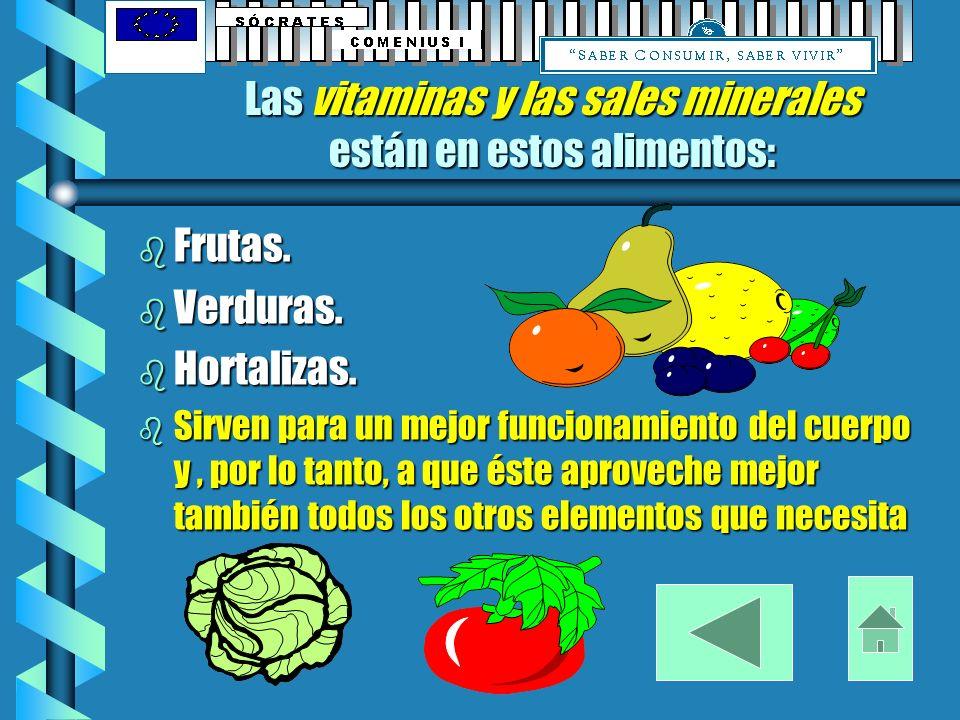 Las vitaminas y las sales minerales están en estos alimentos: b Frutas.
