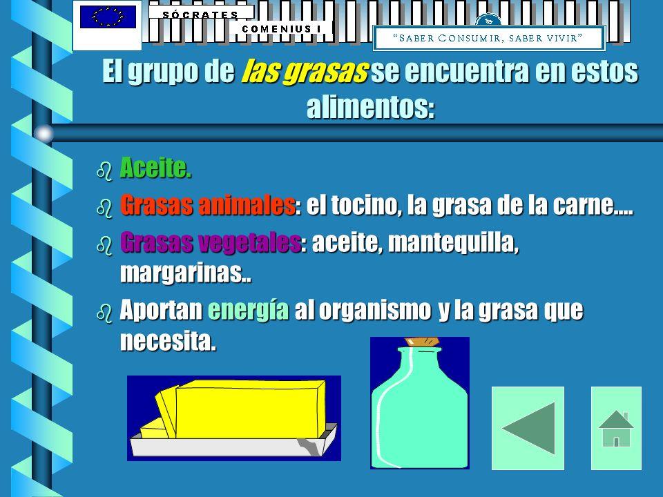 El grupo de las grasas se encuentra en estos alimentos: b Aceite.