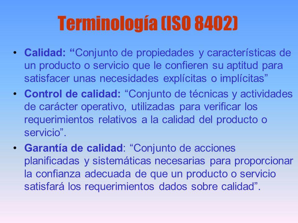 Terminología (ISO 8402) Calidad: Conjunto de propiedades y características de un producto o servicio que le confieren su aptitud para satisfacer unas