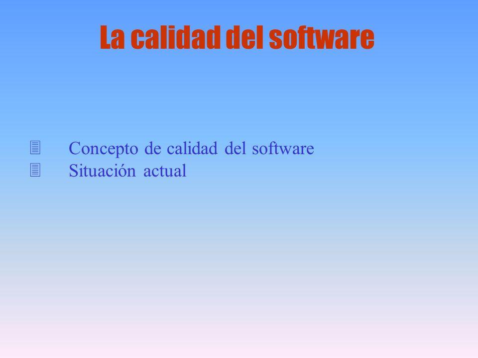 3Concepto de calidad del software 3Situación actual La calidad del software