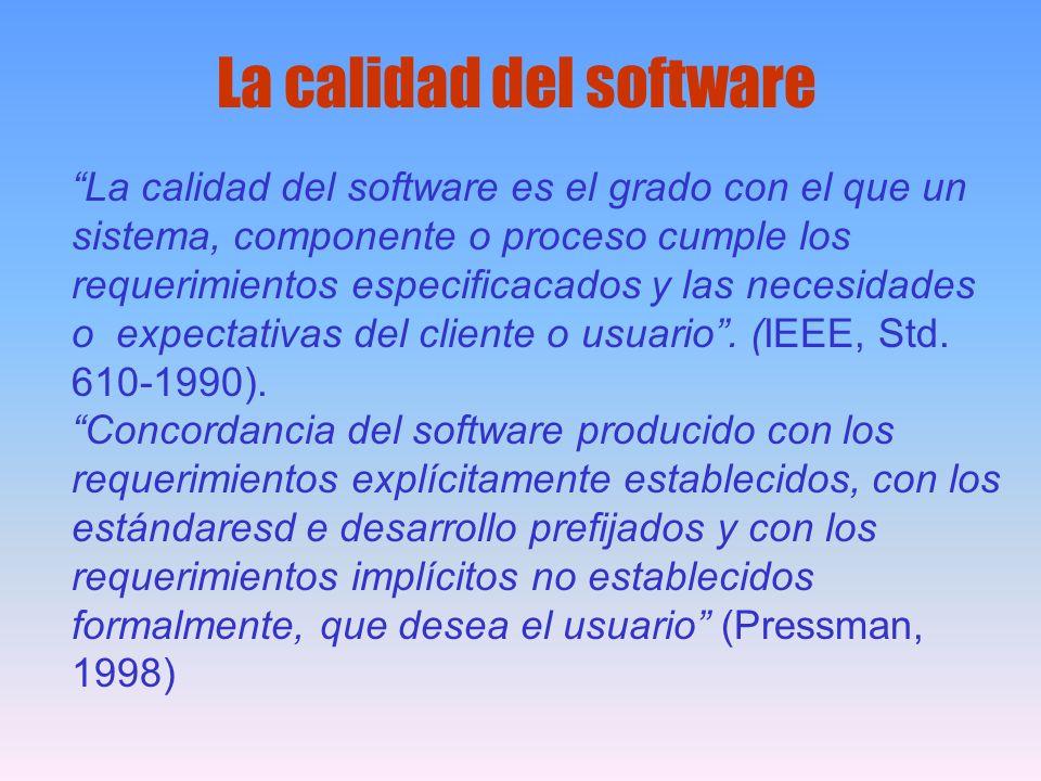 La calidad del software es el grado con el que un sistema, componente o proceso cumple los requerimientos especificacados y las necesidades o expectat