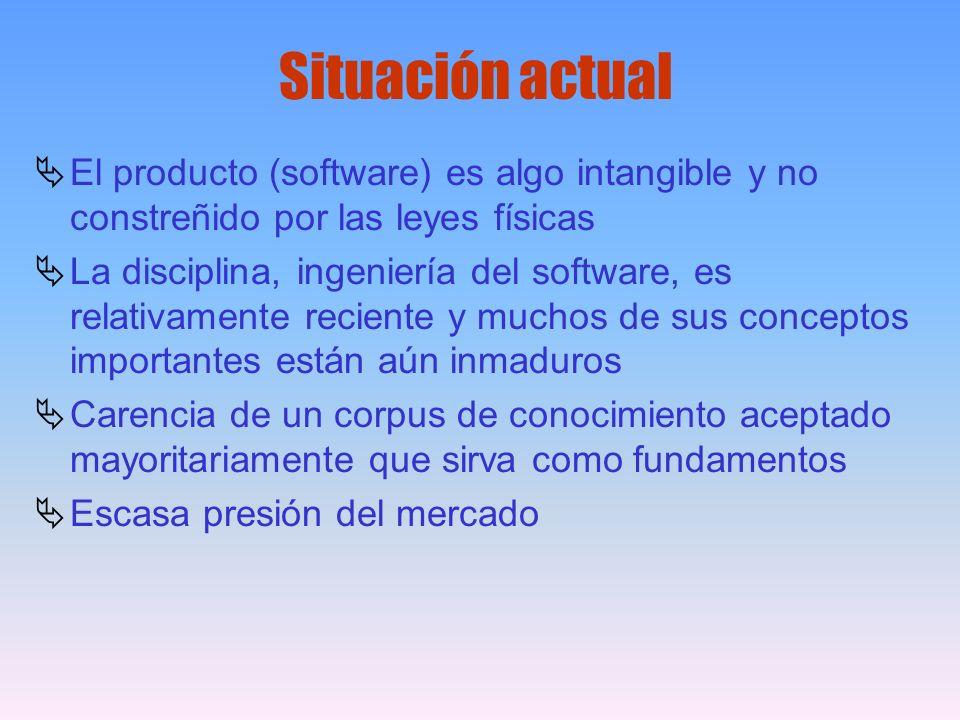 El producto (software) es algo intangible y no constreñido por las leyes físicas La disciplina, ingeniería del software, es relativamente reciente y m