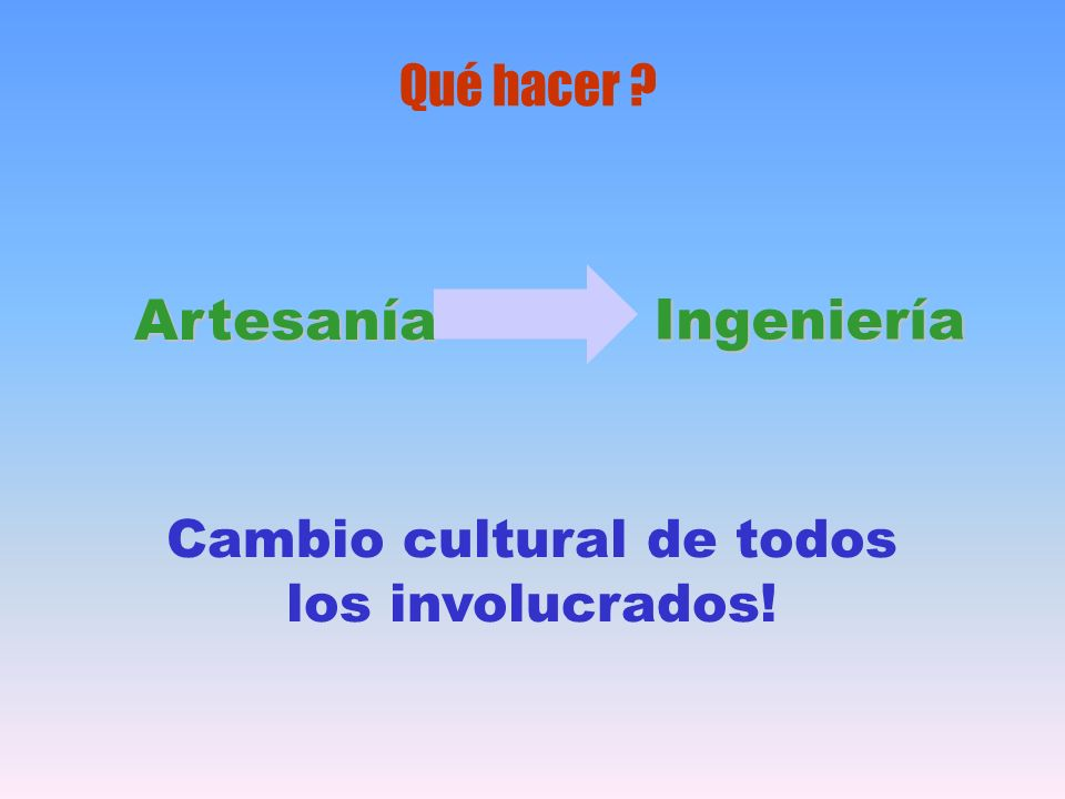 Qué hacer ? Artesanía Ingeniería Cambio cultural de todos los involucrados!