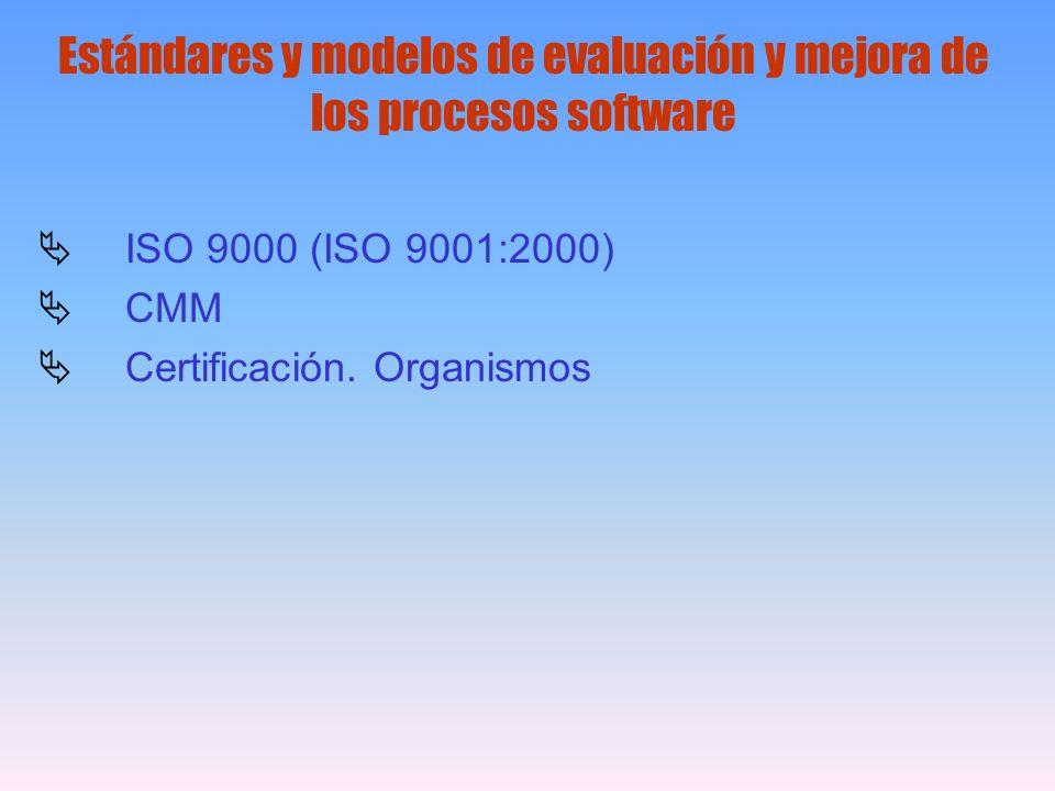 Estándares y modelos de evaluación y mejora de los procesos software ISO 9000 (ISO 9001:2000) CMM Certificación. Organismos
