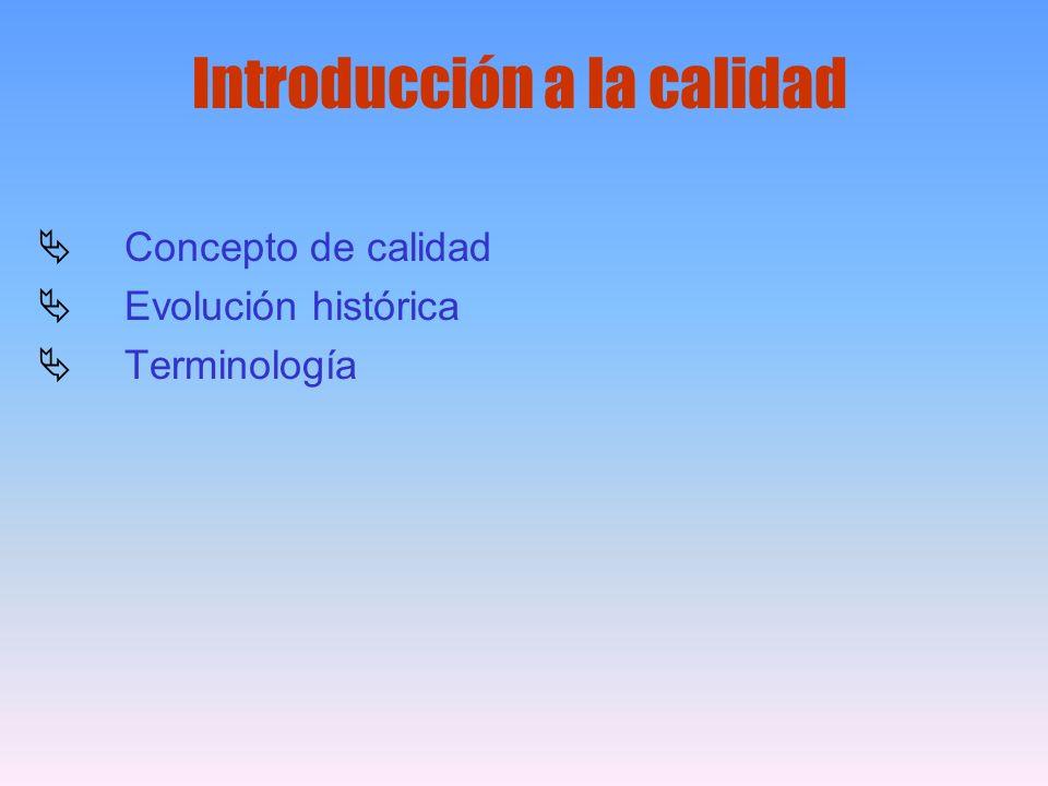 Introducción a la calidad Concepto de calidad Evolución histórica Terminología